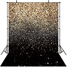 COMOPHOTO 5x7ft Glitter Black Gold Dots Photography Backdrop Birthday Party Events Decorations Supplies Photo Studio Background Photo Booth Props