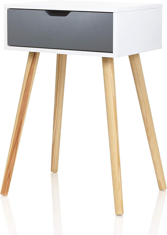 Möbelfreude Doluna Tjark Nachttisch Weiß mit Schublade in Anthrazit   Weiss  mit Füßen aus Massivholz   20 x 20 x 20 cm   Beistelltisch Nachtkonsole ...