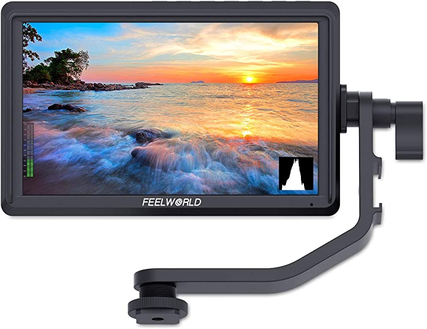 FEELWORLD FW568 5.5 Inch DSLR On Camera Field Monitor Small Full HD 1920x1080 IPS Video Peaking Focus Assist with 4K HDMI 8.4V DC Input Output Include Tilt Arm