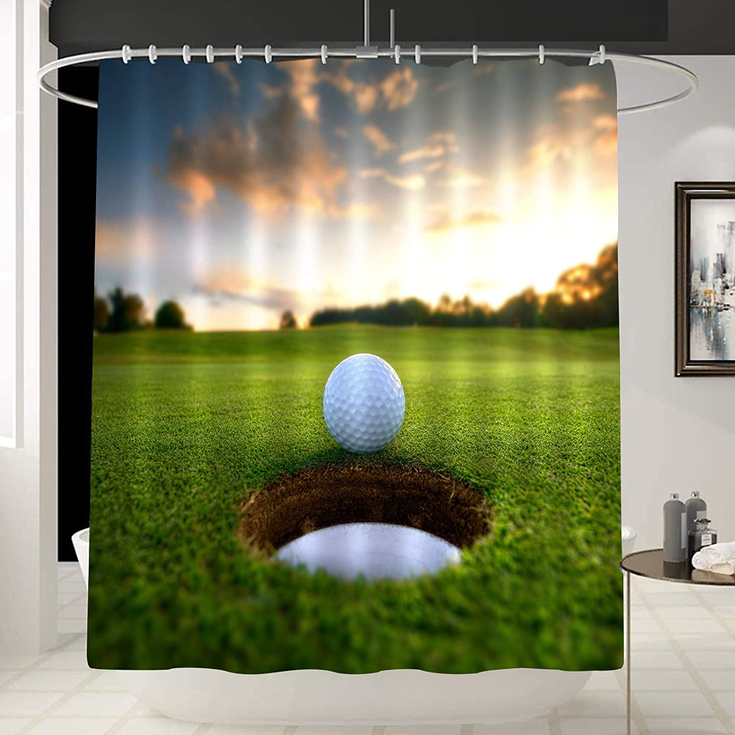 Golf Course Wall Decor Golfing Shower Paint Free shipping anywhere Rapid rise in the nation Liner Sports Curtain