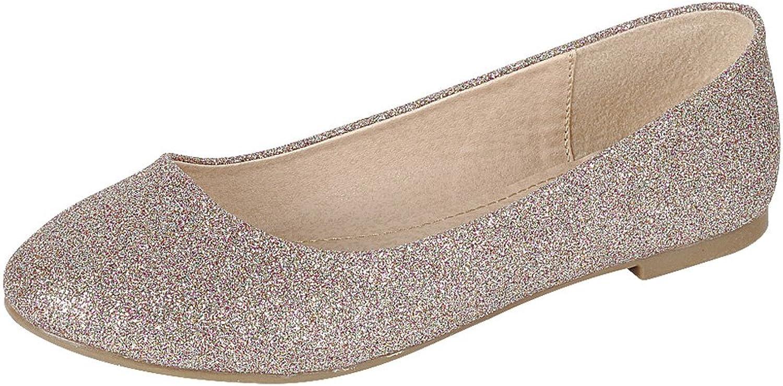 Cambridge Select Women's Closed Round Toe Glitter Slip-On Ballet Flat
