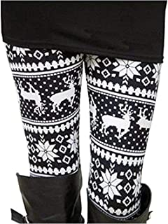 black and white reindeer leggings