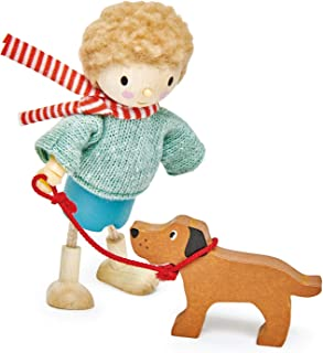 Tender Leaf Toys - The Goodwood Family - Wooden Action Figure Dollhouse Miniatures Dolls - Encourage Creative and Imaginative Fun Play for Children 3+ (Mr. Goodwood and His Dog)