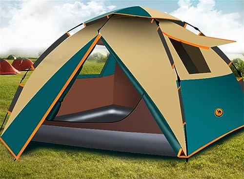 Yeying123 3-4 Personnes Double Tente De Camping en Couches Imperméable, Anti-Insectes pour Camping Randonnée,Beige