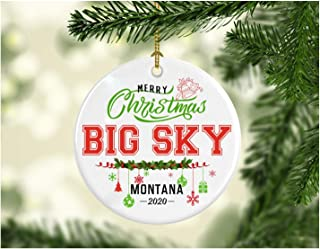 Christmas Decorations Tree Ornament - Gifts Hometown State - Merry Christmas Big Sky Montana 2020 - Gift for Family Rustic...