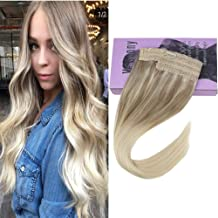 VeSunny 14inch Remy Halo Extensions Blonde Balayage Human Hair #Nordic Invisible One Piece Halo Couture Hair Extensions Thick Hair 11inch Width 80G/Set