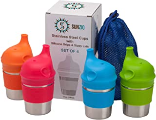Stainless Steel Cups with Silicone Sippy Lids & Grips for Kids Toddlers Babies (10oz, 4-Pack) BPA Free & Lab-Tested – Portable Carrying Pouch Included