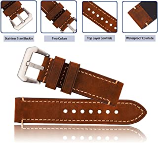 Brown 20mm 22mm 24mm Vintage Mens Genuine Leather Replacement Watch Strap Band Stainless Steel Buckle (22mm)