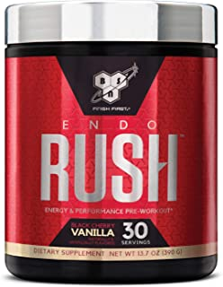 BSN Endorush Pre-Workout Powder, Energy Supplement for Men and Women, 300mg of Caffeine, with Beta-Alanine and Creatine, Black Cherry Vanilla, 30 Servings