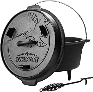 Overmont Camp Dutch Oven 11.2x11x8in All-round Cast Iron Casserole Pot Dual Function Lid Griddle Pre Seasoned with Lid Lifter Handle for Camping Cooking BBQ Baking