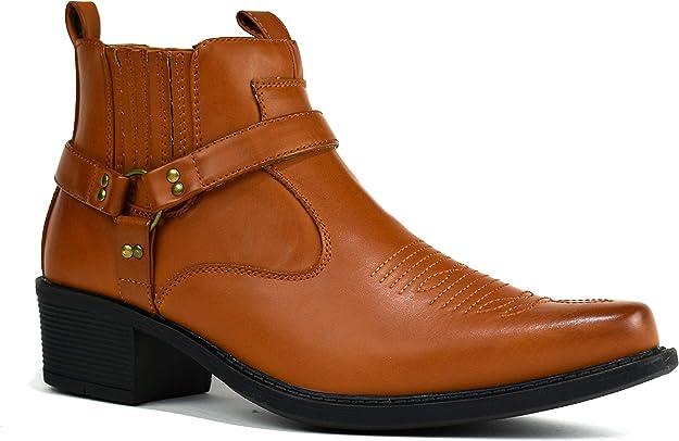 Homme Bottines Cowboy biker boots NEW FASHION Chelsea Western Harnais Bottes Chaussures
