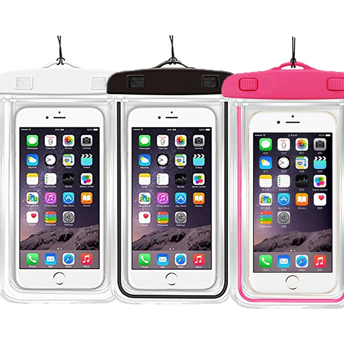 [3PACK] Waterproof Case Universal CellPhone Dry Bag Pouch CaseHQ for Apple iPhone 8,8plus,7,7plus,6s, 6, 6S Plus, SE, 5S, Samsung Galaxy s8,s8plus,S7, S6 Note 5 4,HTC LG Sony Nokia up to 5.8