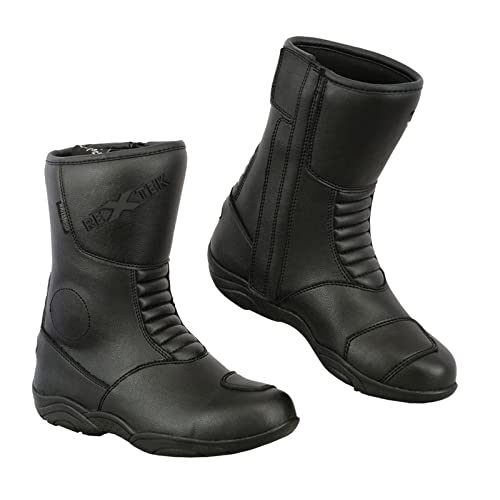 UK 8 Waterproof Cruiser Boot Racing Sports Leather Ladies High Heel Motorbike Boots Anti Slip Rubber Soul Motorcycle Shoes Full Black