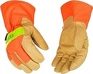 Kinco Lined Hi-Vis Orange Grain Pigskin Palm with Safety Cuff Glove