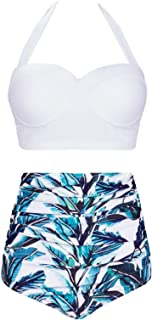 Womens Vintage Polka Underwire High Waisted Swimsuit Bathing Suits Bikini