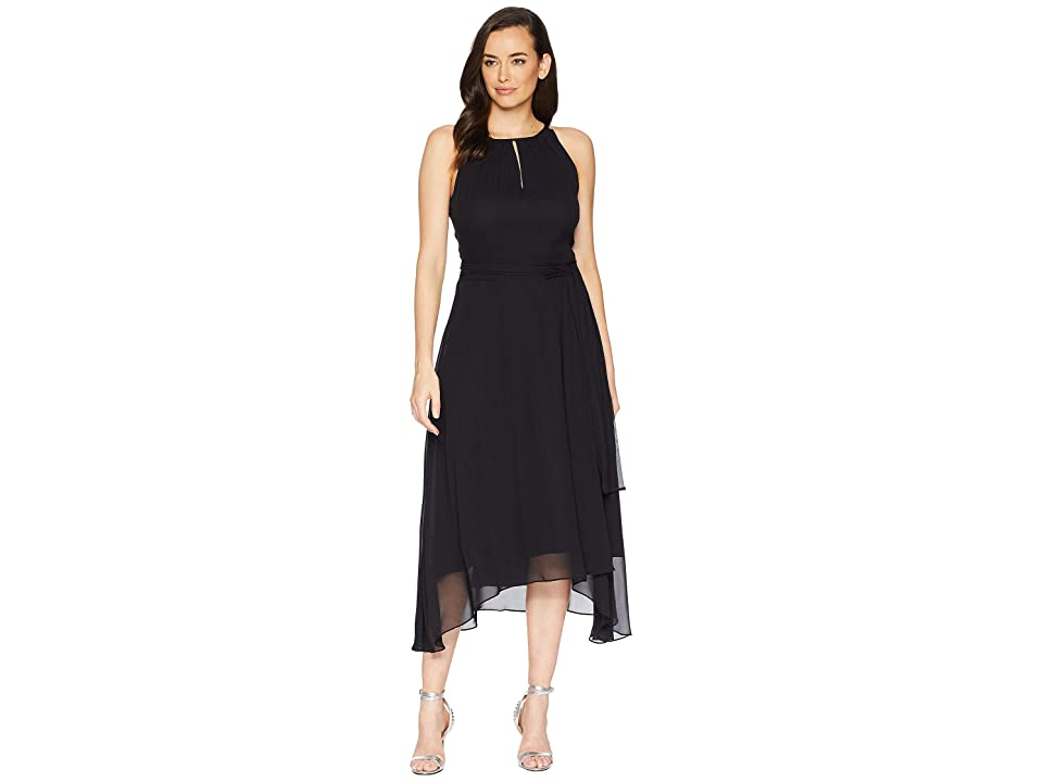 Tahari by ASL Chiffon High-Low Halter Neck Dress with Keyhole (Black) Women