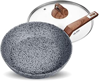 GMIN-Pan Sartén De Aluminio  Sartén con Cubierta De Vidrio Templado  Mango de Material de Madera eléctrico  Sartén Antiadherente  Compatible con inducción AAA~ (Size : 24cm with Lid)