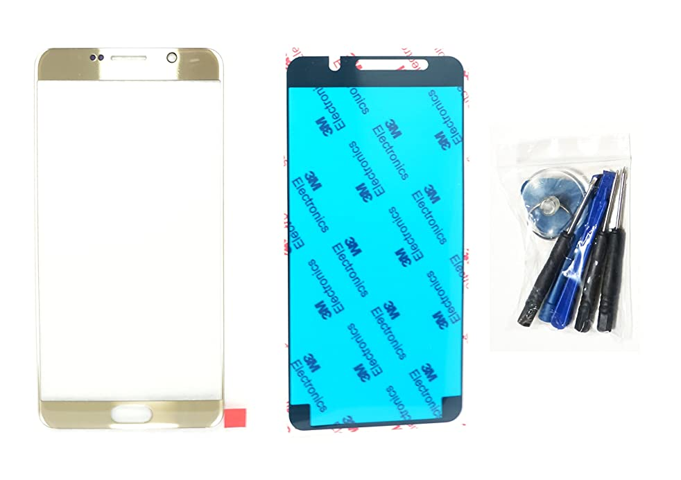 (md0410) Platinum Gold Color Front Outer Glass Lens Replacement Compatible for Galaxy Note 5 N9200 N920A N920P N920T + Adhesive + Tools (LCD touch screen & Digitizer not included)