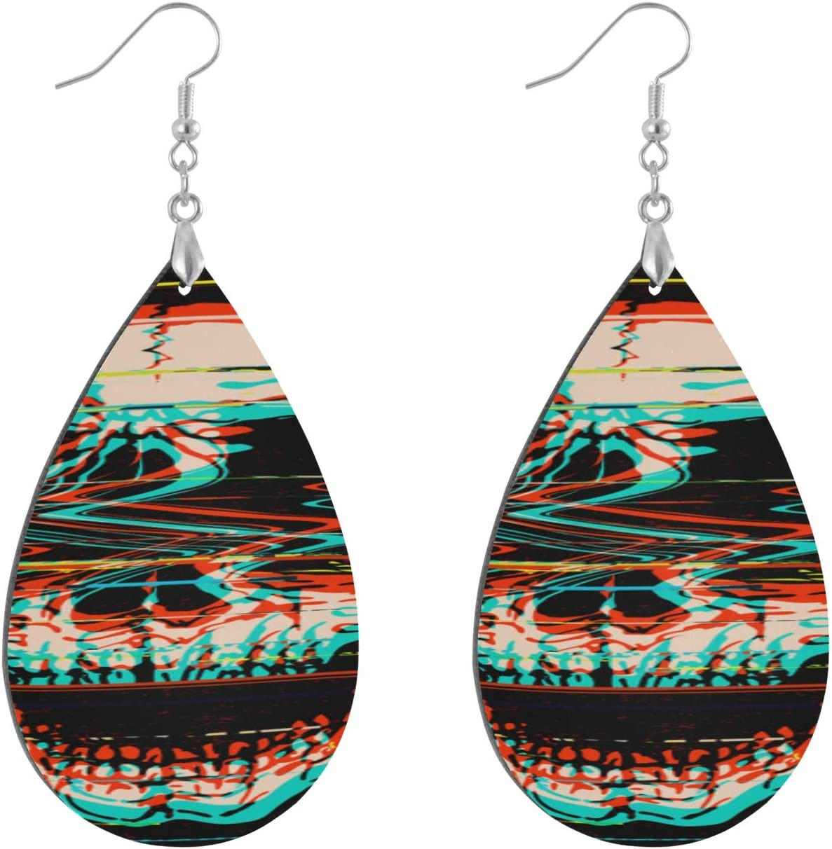 Huqalh Digital Glitch Screaming Skull Earrings for Women Fashion Fashion Painted Dangle Geometric Personalized Drop Dangle Earrings for Women Water Drop/Leaf Womens Earrings for Women Lady Girls