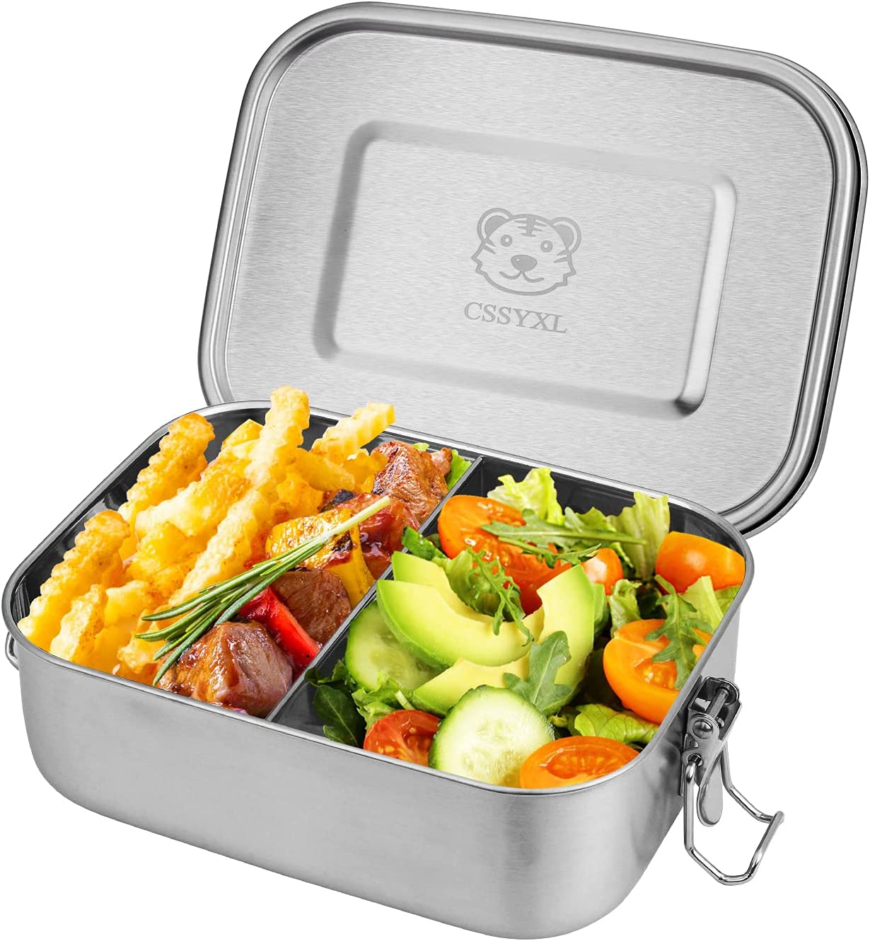 Stainless Steel Bento Box 800ML Single Layered Eco-friendly Food Containers Hot Lunch 2 Compartment Divided Leakproof Lunch Box Dining for Kids Adults with Clip Locks Metal Tiffin Box-Stainless Lid