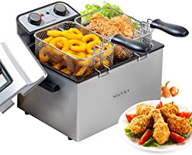 Secura Electric Deep Fryer 1800W Large Stainless Steel with with Triple Basket and Timer MSAF40DH, 4.0L/4.2Qt, Professional Grade