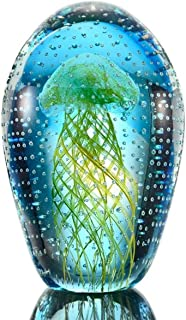 Decorative Art Glass Jellyfish with Bubbles Glow in the Dark