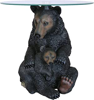 Rayes Imports Black Bear and Cub End Table Glass Top 19 inch High