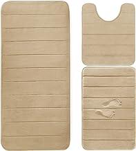 Yimobra 3 Pieces Memory Foam Bath Mats Set, XL, L and U-Shaped Size for Bathroom or Bedroom Rugs, Tub, Contour Toilet Mat...