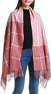 Heboto Plaid Cashmere Pashmina Scarf Shawl Fashion Warm Oversized Wool Wrap Shawl Winter Stole for Women