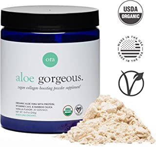 Ora Organic Vegan Collagen Powder for Hair, Skin, Nails & Joint Support - Collagen Booster with Plant-Based Protein, Organic Vitamin C, Bamboo Silica, Aloe Vera - Vanilla Flavor, 30 Servings
