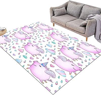 KORANGE Rectangle Area Rugs Living Room Accent Rug Bedroom Floor Rug Accent Area Carpet Pink Cartoon Animal Pattern (Size : 91cm×152cm(3' x 5'))