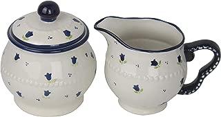 Lonovel Cream & Sugar Sets with Lids Porcelain Vintage Floral Sugar Bowl and Creamer Set In Beige Stoneware Sugar and Creamer Set for Kitchen Dining Serveware,Home Decorative Gift,3 Colors (Blue Rose)