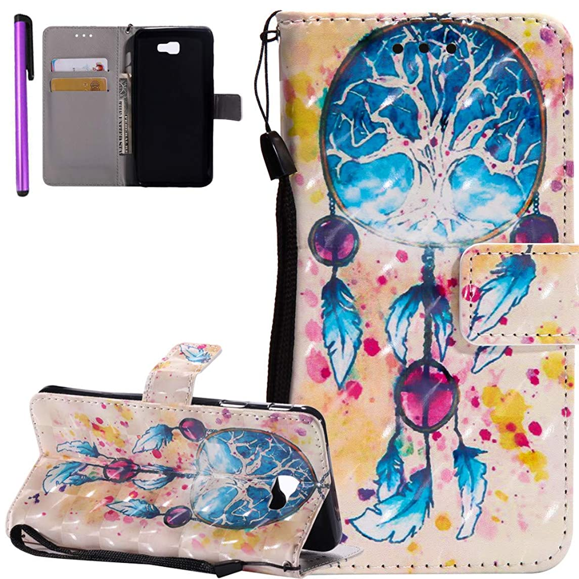 ISADENSER Samsung Galaxy J7 Prime Case [Wallet Stand] Flip Magnetic Closure Shockproof Card Holder PU Leather Wallet Case Cover Samsung Galaxy J7 Prime / J7 Sky Pro 3D Tree on Windbell KT