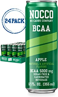 NOCCO BCAA Apple 24 x 12 Fl Oz Carbonated Sugar-free and Low Calorie Beverage No Carbs Company Vitamin Flavored Carbonated Drinks