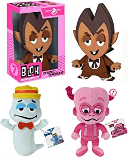 Retro Monster Morning Crunch! Vinyl Count Chocula Figure Bundled with Boo Berry Ghost Plush + Frankenberry Stuffed Character Breakfast Retro Fun Pack 3 Items