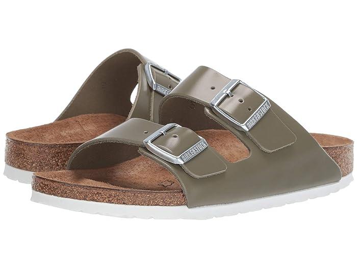 Vintage Sandal History: Retro 1920s to 1970s Sandals Birkenstock Arizona - Leather Khaki Leather Womens Sandals $87.95 AT vintagedancer.com
