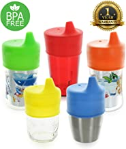 Healthy Sprouts Silicone Sippy Lids (5 Pack) - Lab Tested, Spill Proof, BPA Free, Universal Soft Spout Stretch Tops - Make Any Kid Size Cup a Sippy Cup for Toddler, Baby, Infant (Red, Yellow, Blue)