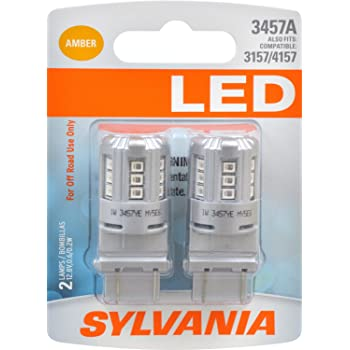 SYLVANIA - 3457 LED Amber Mini Bulb - Bright LED Bulb, Ideal for Park and Turn Lights (Contains 2 Bulbs)