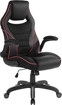 OSP Home Furnishings Xeno Ergonomic Adjustable Gaming Chair, Black with Red Accents