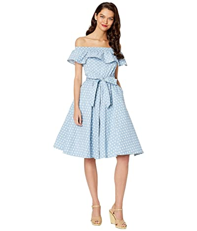 Unique Vintage Off-Shoulder Ruffle Nashville Swing Dress (Blue/White Dot) Women