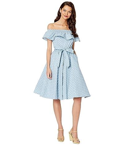 Unique Vintage Off-Shoulder Ruffle Nashville Swing Dress (Blue/White Dot) Women