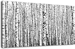 Wall Art Birch Forests Canvas Picture Nature Winter Scenery Black and White Tree Branch Modern Artwork Long Contemporary Canvas Art for Kitchen Office Wall Decor Bedroom Home Decoration 40