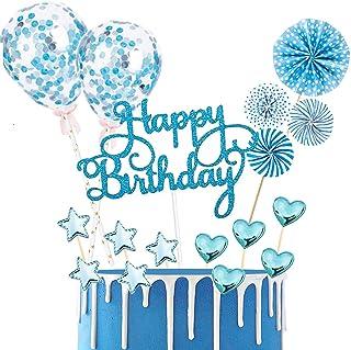 BOYATONG 17 Stück Tortendeko Geburtstag, Happy Birthday Kuchendeko, Glitter Cake Topper Happy Birthday, Tortendeko Blau, Cupcake Topper mit Sternen Liebe Konfetti-Luftballons und Papierfächer