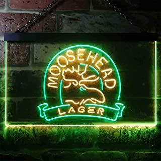 zusme Moosehead Lager Beer Novelty LED Neon Sign Green + Yellow W16 x H12