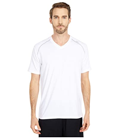 tasc Performance Carrollton V-Neck Tee (White/Heather Gray) Men