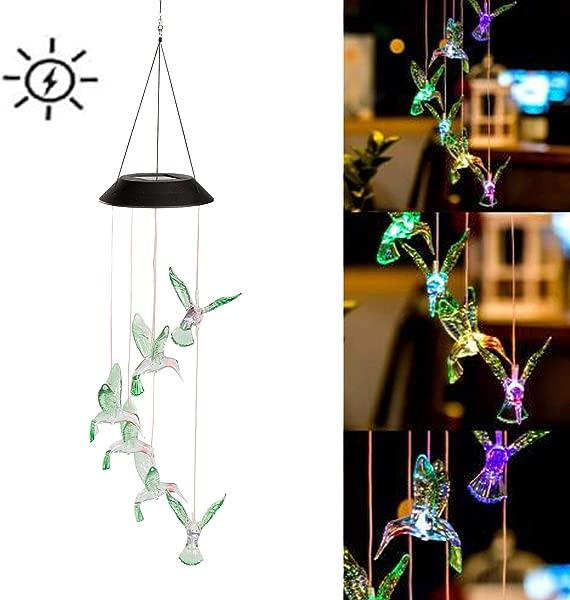 Ricky Star 变色 LED 太阳能移动风铃 LED 变色发光颜色防水六蜂鸟风铃家居派对夜间花园装饰