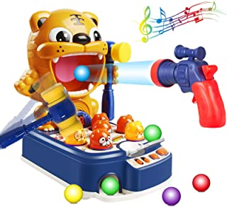 3 in 1 Whack a Mole Game, SAYBZ Tiger Pounding Toys Target Shooting Interactive Educational Toddler Hammering Toy with Mus...