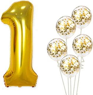 Large, Number 1 Balloon and Gold Confetti Balloons - 1st Birthday Decorations   First Birthday Balloons Party Supplies   Gold One Balloon   Gold 1 Balloon   1st Birthday Balloons   32 Foot String