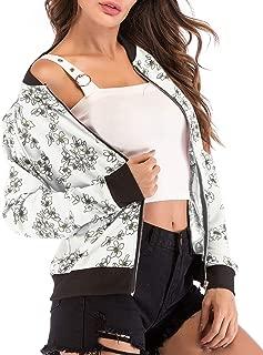 RINZON Women's Collarless Floral Zip Up Sports Baseball Jacket Long Sleeve Spring Fall Outfit Zipper Bomber Jacket