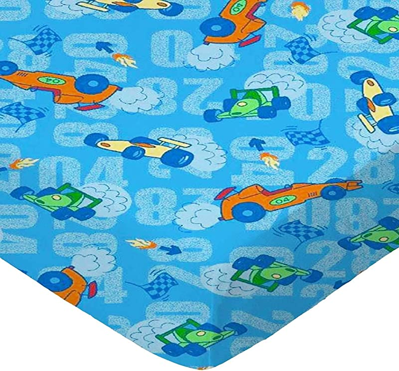 SheetWorld Fitted Pack N Play Sheet Race Cars Blue Made In USA